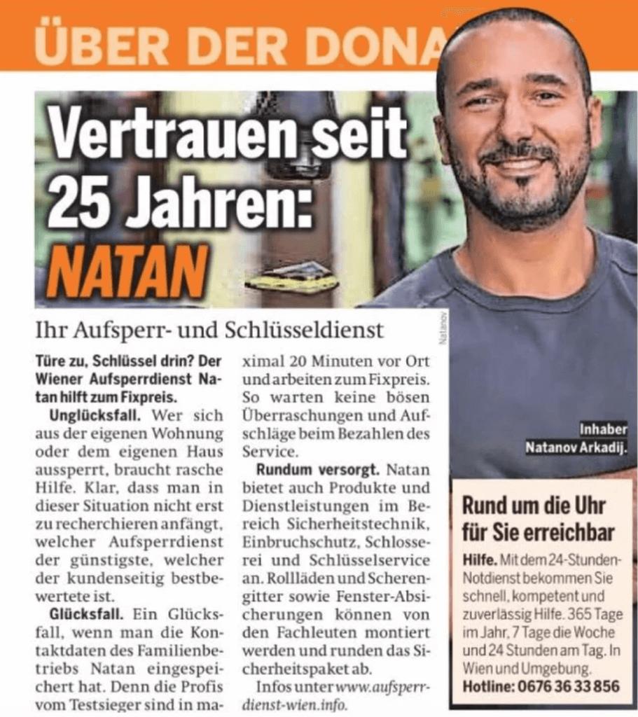Aufsperrdienst Natan - Zeitung